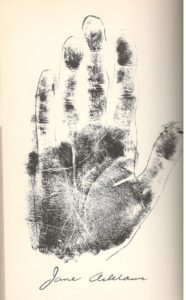 Addams's right hand print, as published in Lions Paws