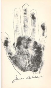 Addams's left palm print, as published in Lion's Paws.