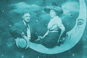 Charles Cramer, alias Conway, the clown with a wooden leg, in a postcard photo with his wife, circa 1911 (Mysterious Chicago)