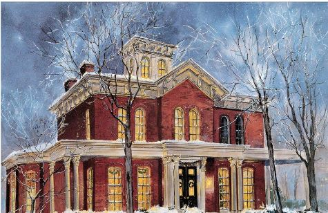 """Winter at Hull-House,"" a watercolor painting by Chicago artist Jack Simmerling. One can imagine that this was what Hull-House looked like during the holidays."
